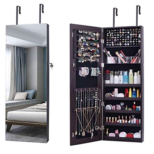 AOOU Jewelry Organizer Jewelry Cabinet,Full Screen Display View Larger Mirror, Full Length Mirror,Large Capacity Dressing Mirror Makeup Jewelry Armoire (Brown) …