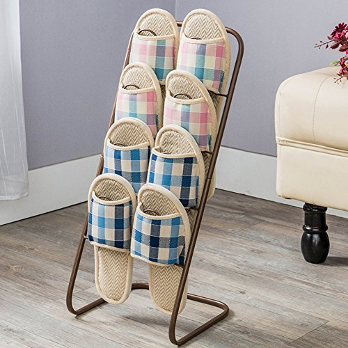 MCUWEHGFET Continental Shoe Rack Iron Multi-Tier Shoe Rack dust-Proof Removable Shoe Holder Simple Slippers Rack Slippers Holder-C