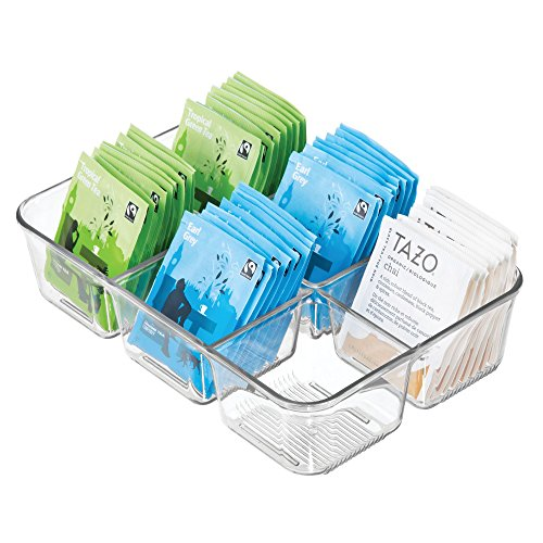 "iDesign Linus Plastic Divided Packet Organizer, Holder for Condiments, Sugar, Salt, Pepper, Sweeteners, Tea Bags, Spices, 6.5"" x 9.5"" x 2.25"" - Clear"