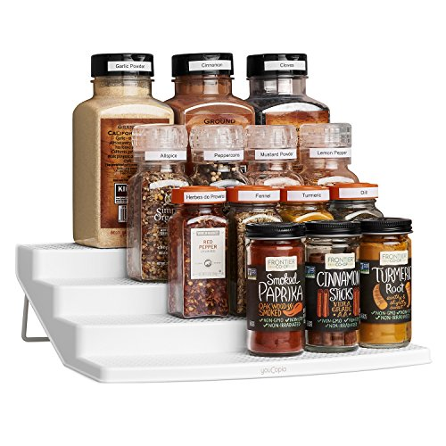 YouCopia Spicesteps 4-Tier Kitchen Cabinet Spice Shelf Organizer, Large with Labels, White