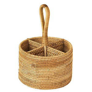 Handweaved Rattan 4 Compartments Storage Box Cosmetics Organizer Utensil and Bottle Serving Basket (200mm 4-compartment Round Box with Handle)