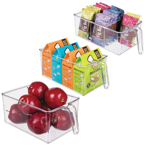 mDesign Plastic Kitchen Pantry Cabinet Fridge Refrigerator Storage Organizer Bin Holders with Handle - Organizers for Cans, Bottles, Packets, Snack, Produce, Pasta - BPA Free, Set of 3 - Clear