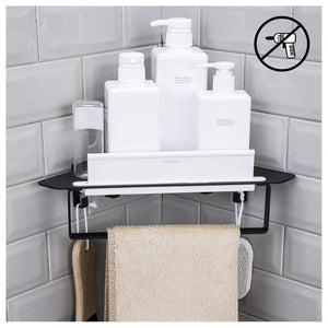 Exclusive forious bathroom shower caddy and kitchen shelf combine with squeegee towel ring and robe hooks patented glue 3m self adhesive aluminum black