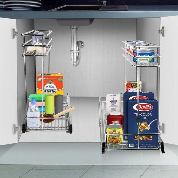 Kitchen secura pull out cabinet organizer professional kitchen and bathroom sink cabinet organizer with 2 tier sliding out shelves