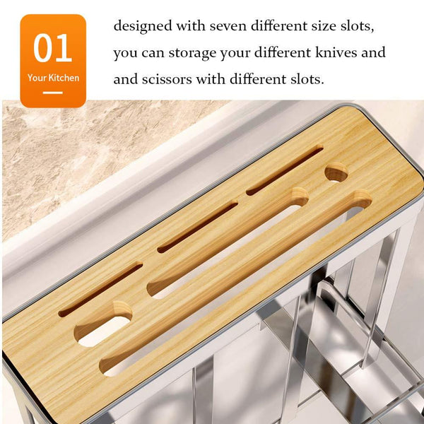 Multifunctional Cutting Board and knife Holder, Stainless Steel Organizer with Anti Slippery Mat and Bottom Removable Water Tray,Kitchen Utensils Storage Drying Drainer Rack, for Knives,Pot Cover,Fork