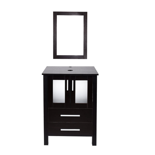 The best 24 inch bathroom vanity modern stand pedestal cabinet wood black fixture with mirror ocean blue tempered glass sink top with single faucet hole