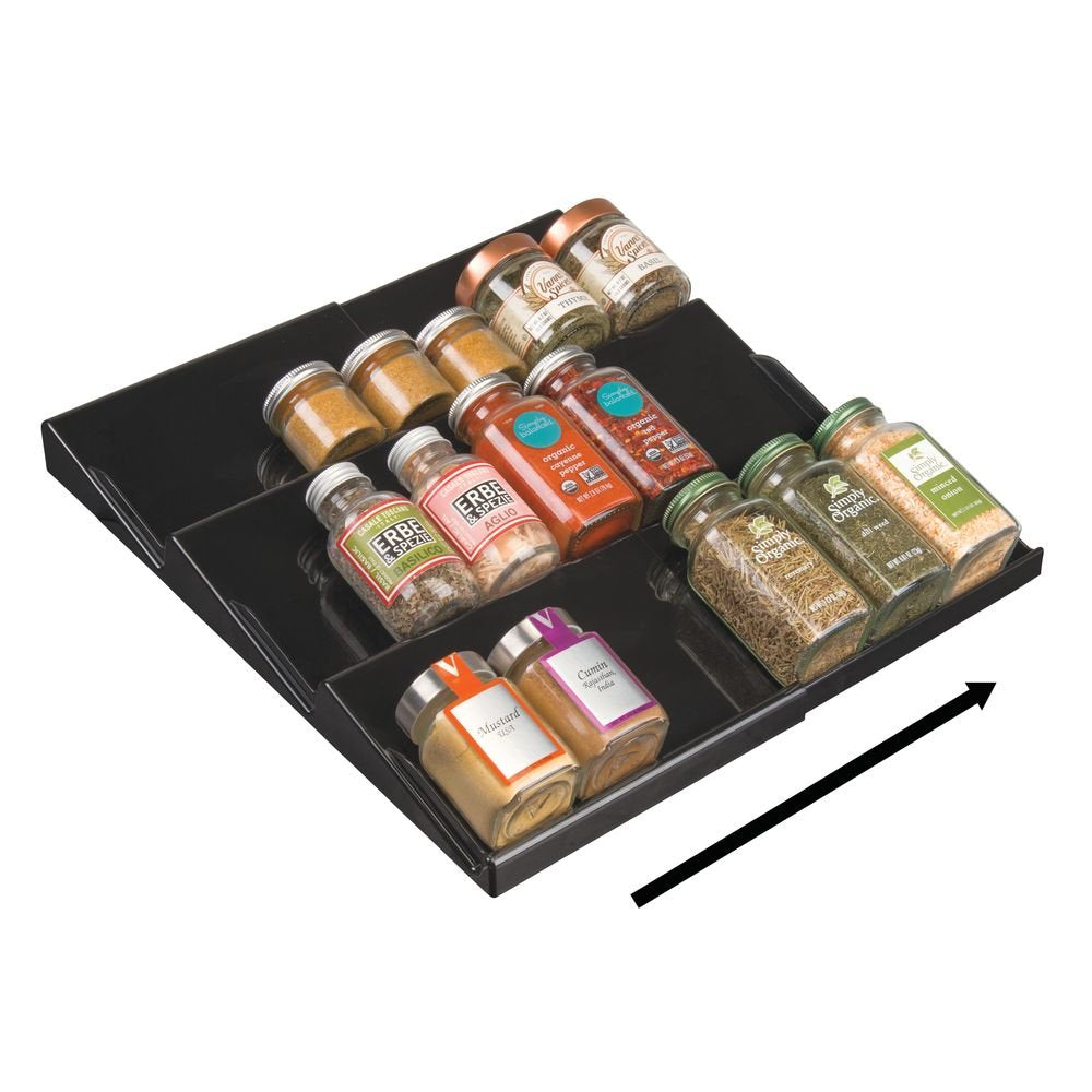 mDesign Adjustable, Expandable Plastic Spice Rack, Drawer Organizer for Kitchen Cabinet Drawers - 3 Slanted Tiers for Garlic, Salt, Pepper Spice Jars, Seasonings, Vitamins, Supplements - Black
