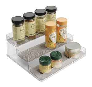mDesign Decorative Small Plastic Spice Bottles Rack, Storage Organizer for Kitchen Pantry, Cabinet, Shelf, Countertops - Wide, Metallico/Clear