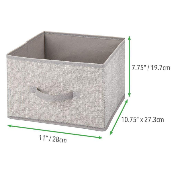 Save on mdesign soft fabric closet storage organizer holder cube bin box open top front handle for closet bedroom bathroom entryway office textured print 2 pack linen tan