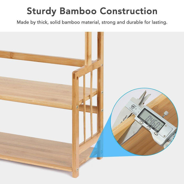 Great 3 tier standing spice rack little tree kitchen bathroom countertop storage organizer bamboo spice bottle jars rack holder with adjustable shelf bamboo