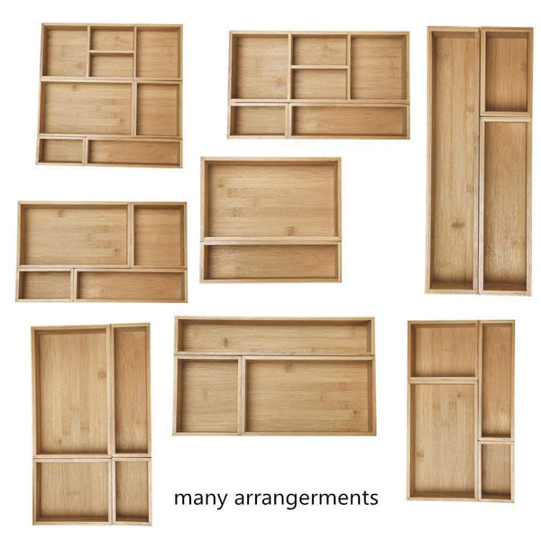 Shop xxl set of 6 bamboo drawer storage box desk organizer 9 compartment organization tray holder 100 bamboo drawer divider 18 x 15 x 2 5 for office bathroom bedroom kitchen children room
