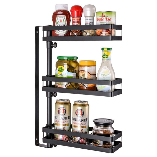 3 Tier Wall Mounted Spice Rack Organizer, Kinghouse Kitchen Bathroom Storage Organizer, Spice Bottle Jars Rack Holder with Adjustable Shelf, Stainless steel