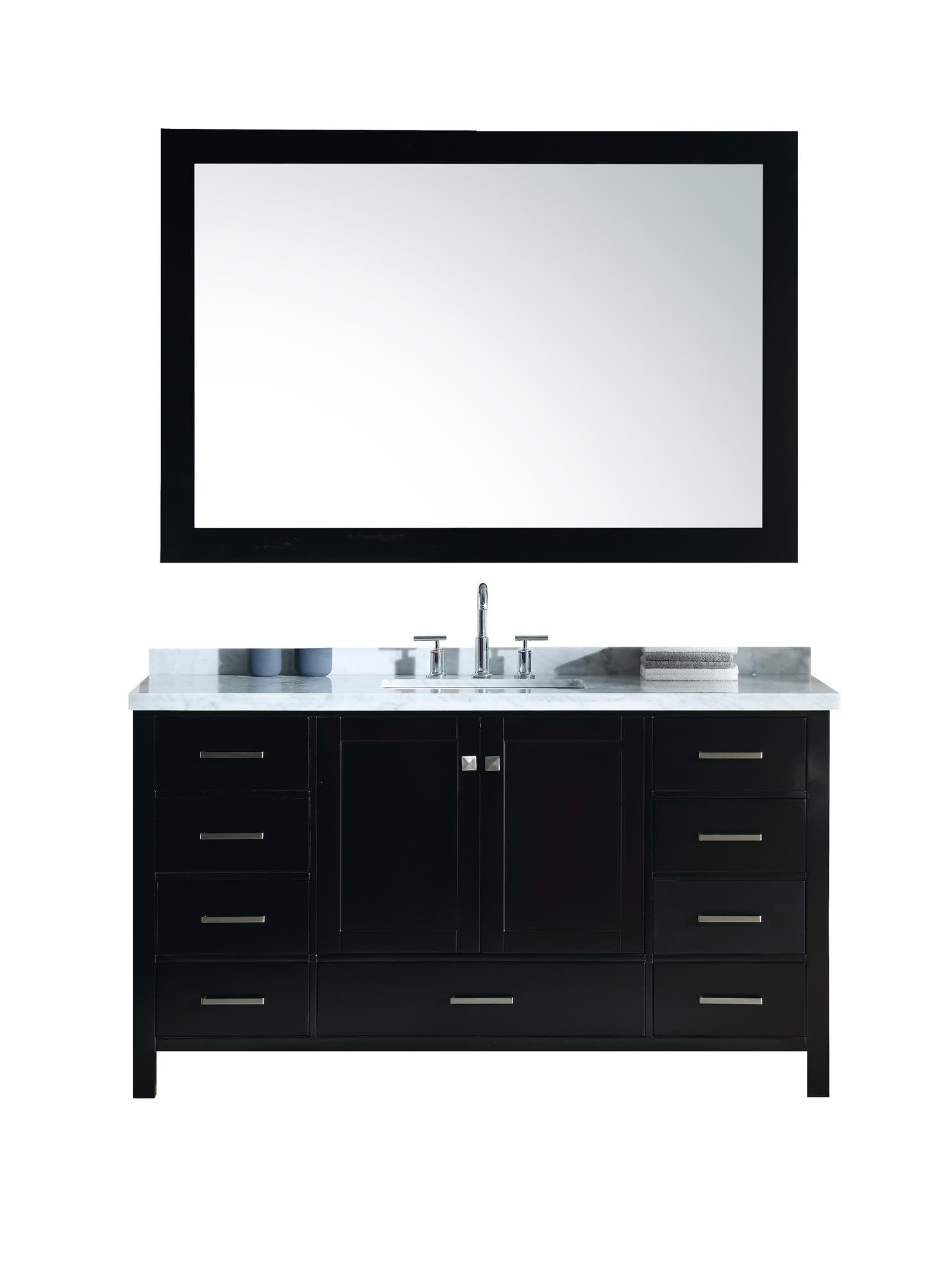 Buy now ariel cambridge a061s cwr esp 61 inch single sink bathroom vanity set in espresso with carrara white marble countertop rectangular sink