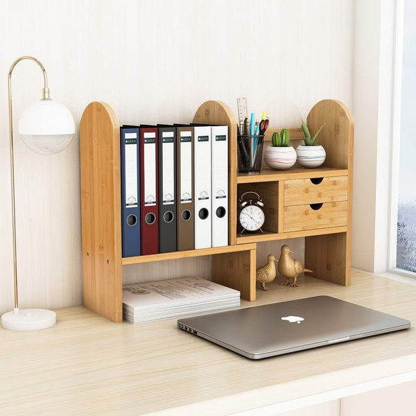 Latest tribesigns bamboo desktop bookshelf counter top bookcase adjustable with 2 drawers desk storage organizer display shelf rack for office supplies kitchen bathroom makeup natural
