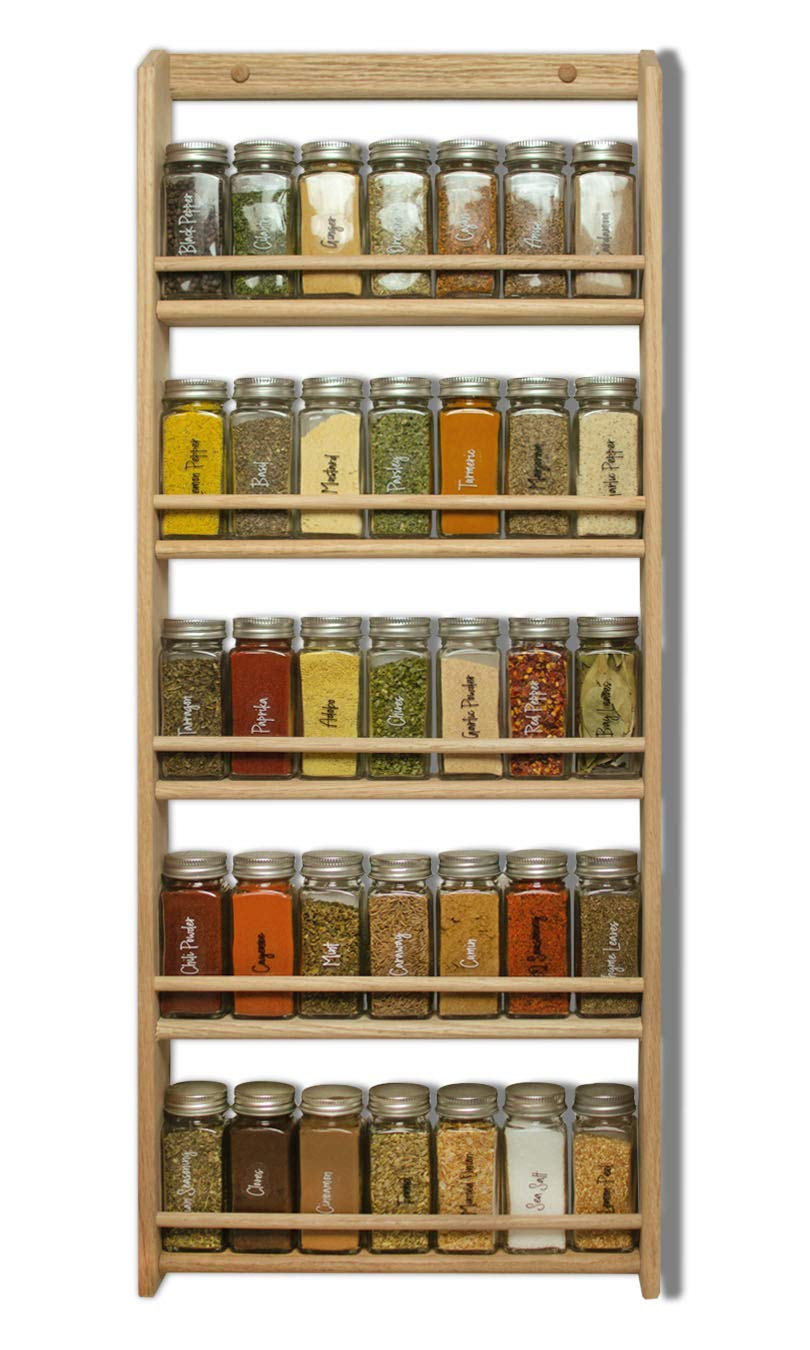 EmejiaSales Oak Spice Rack Wall Mount Organizer 5 Tier, Solid Oak Wood With Natural Finish, Seasoning Storage for Pantry and Kitchen - Holds 30 Herb Jars