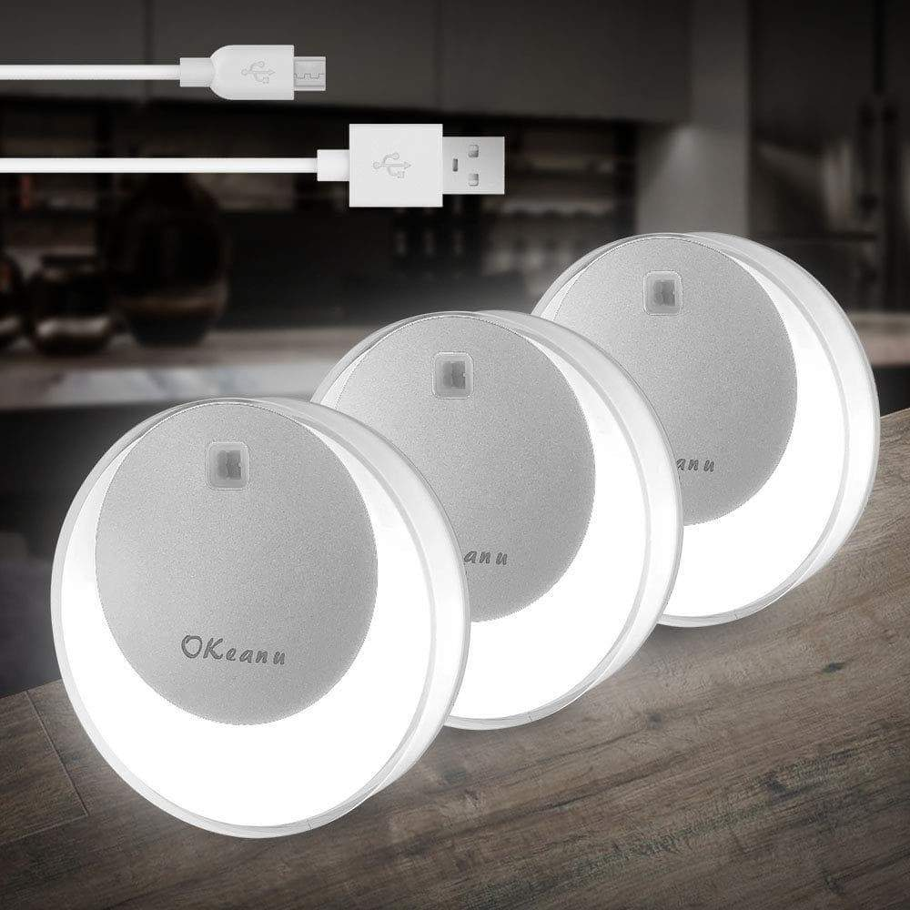 Best seller  okeanu motion sensor light 14 led cordless rechargeable night light portable closet lights for hallway basement garage bathroom cabinet stair 3 pack white