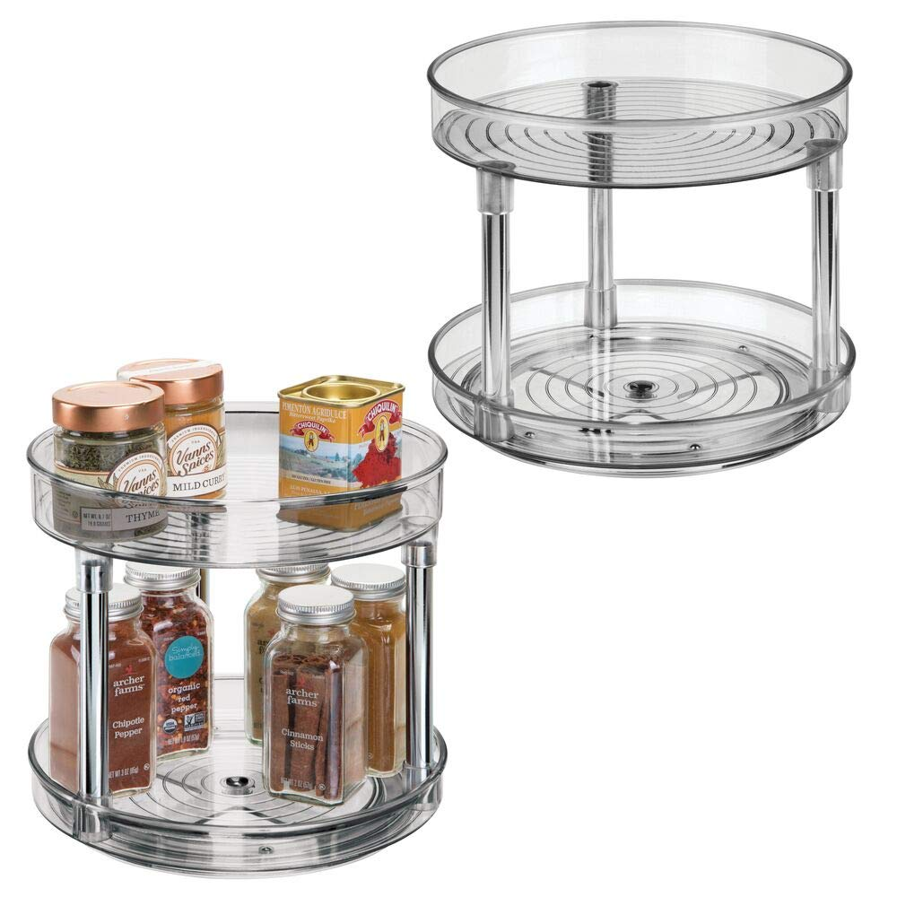 "mDesign 2 Tier Lazy Susan Turntable Food Storage Container for Cabinets, Pantry, Fridge, Countertops - Spinning Organizer for Spices, Condiments - 9"" Round, 2 Pack - Smoke Gray"