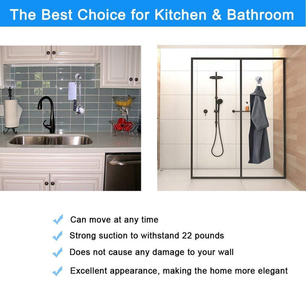 Organize with suction cup hooks heavy duty vacuum hook wall suction hooks for flat smooth wall bathroom kitchen towel robe loofah stainless steel chrome pack of 3