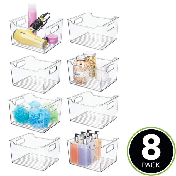 Home mdesign plastic bathroom vanity storage bin box with handles deep organizer for hand soap body wash shampoo lotion conditioner hand towel hair brush mouthwash 10 long 8 pack clear