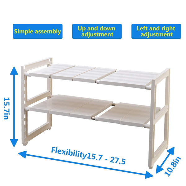 Save on expandable under sink rack 2 tier adjustable multifunctional countertop storage microwave rack shelving unit multipurpose tidy organizer storage shelf for kitchen bathroom and garden