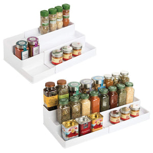 mDesign Plastic Adjustable, Expandable Kitchen Cabinet, Pantry, Shelf Organizer/Spice Rack with 3 Tiered Levels of Storage for Spice Bottles, Jars, Seasonings, Baking Supplies, 2 Pack - White