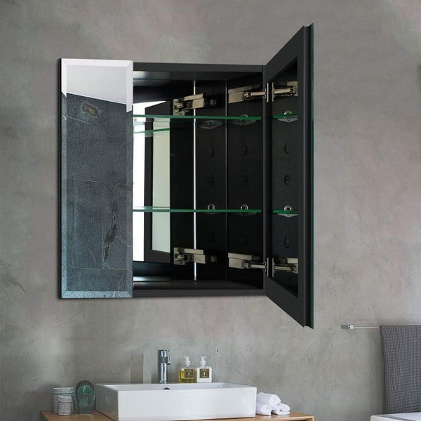 Home b c 30x26 aluminum medicine cabinet with mirror color black bathroom mirror cabinet with adjustable glass shelves storage cabinet for bathroom recessed or surface mounting