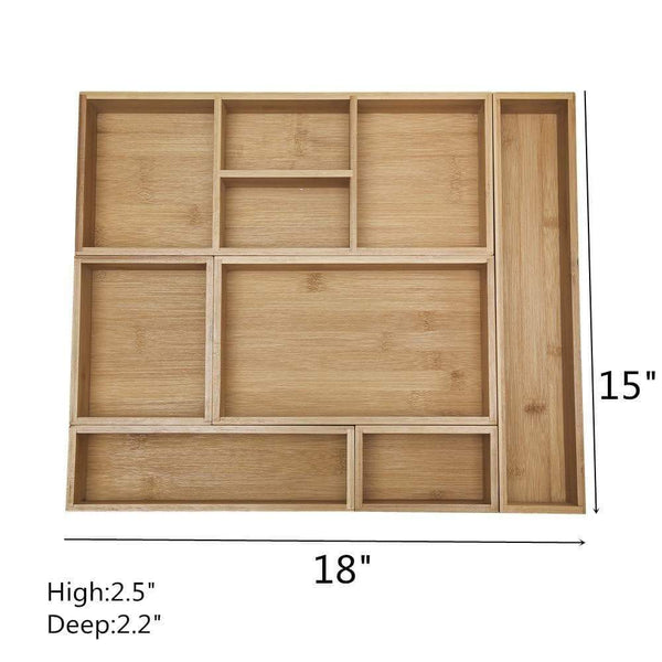 Shop for xxl set of 6 bamboo drawer storage box desk organizer 9 compartment organization tray holder 100 bamboo drawer divider 18 x 15 x 2 5 for office bathroom bedroom kitchen children room