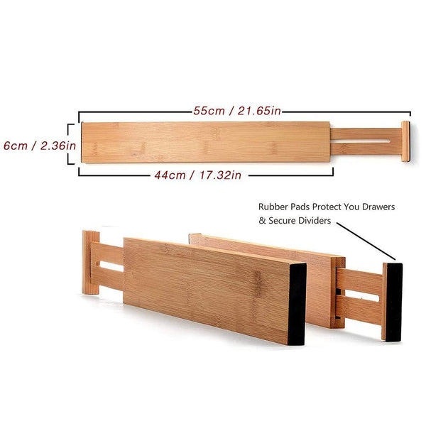 Shop here shineme drawer dividers bamboo set of 4 kitchen separators organizers spring adjustable expendable suitable for bedroom baby drawer bathroom and desk