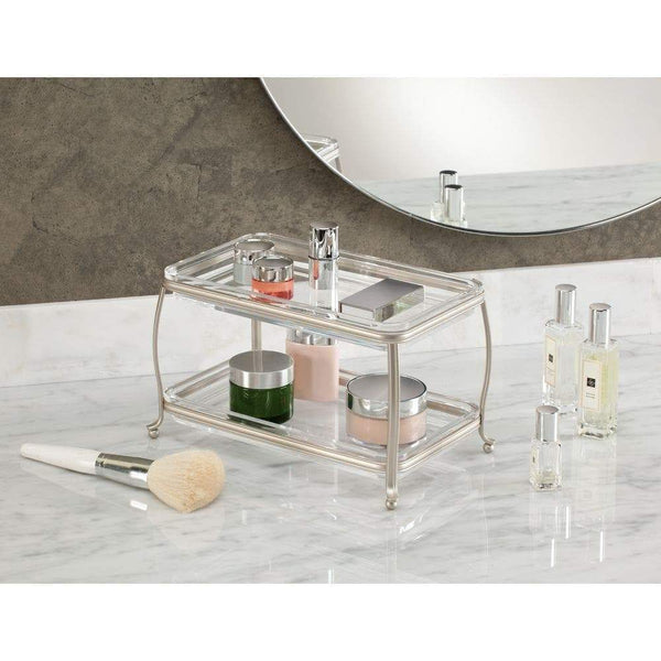 Discover the best idesign york plastic free standing double vanity tray 2 shelves storage for countertops desks dressers bathroom 10 5 x 6 5 x 6 satin silver and clear