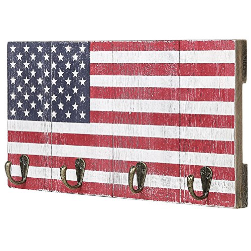 MyGift 4-Hook American Flag Design Wood Wall Mounted Key Rack
