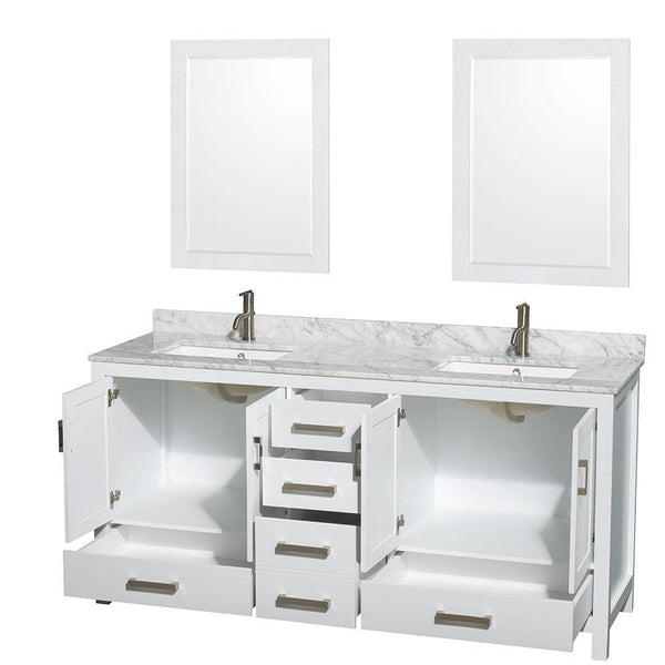Organize with wyndham collection sheffield 72 inch double bathroom vanity in white white carrera marble countertop undermount square sinks and 24 inch mirrors