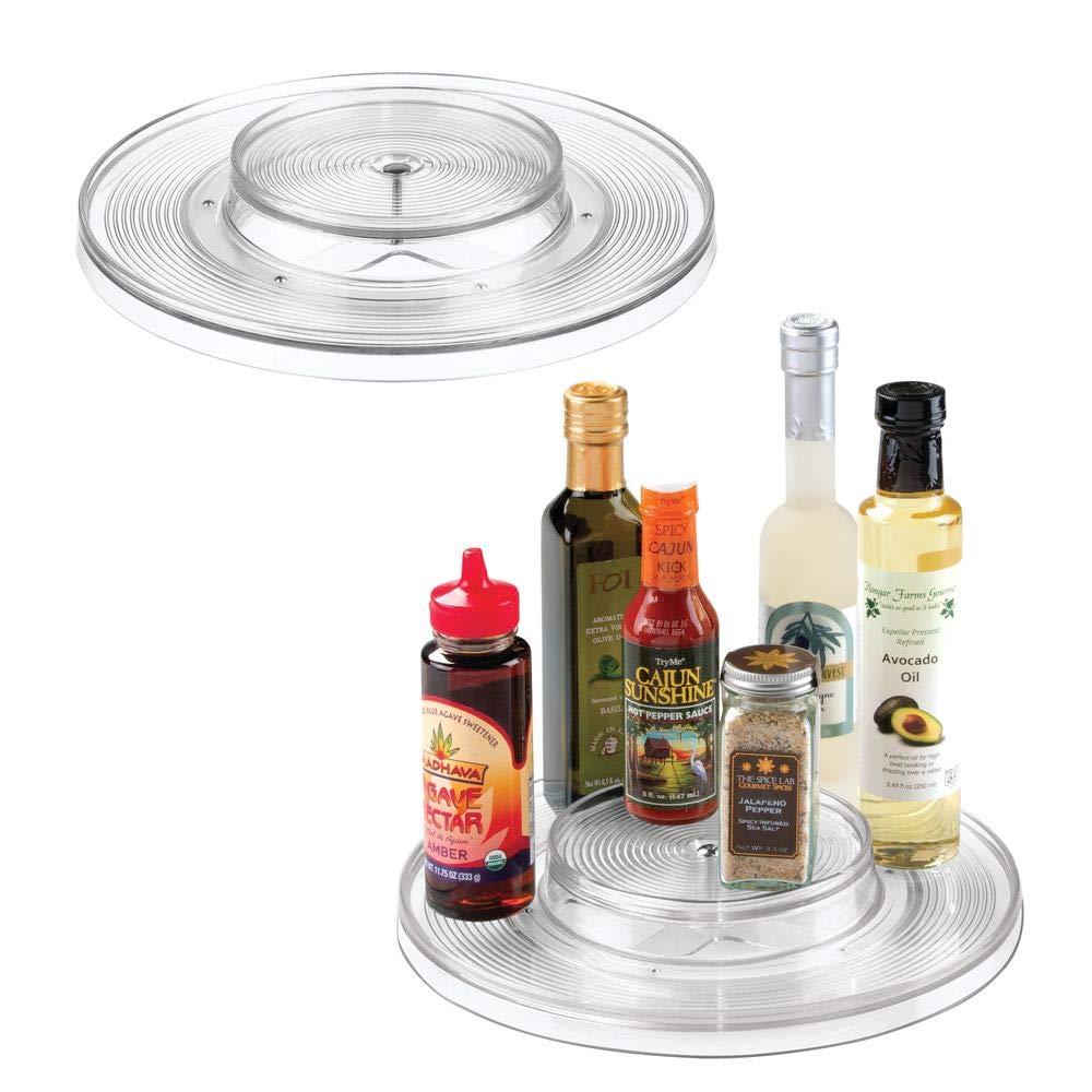 "mDesign Plastic Spinning 2 Tier Lazy Susan Turntable Food Storage Bin - Rotating Organizer for Kitchen Pantry, Cabinet, Refrigerator or Freezer - 11"" Round, 2 Pack - Clear"