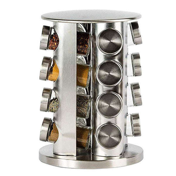 Spice Rack Revolving Stainless Steel Seasoning Storage Organizer Spice Carousel Tower for Kitchen Set of 16 Jars