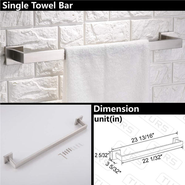 New turs contemporary 4 piece bathroom hardware set towel hook towel bar toilet paper holder tower holder sus 304 stainless steel wall mounted brushed