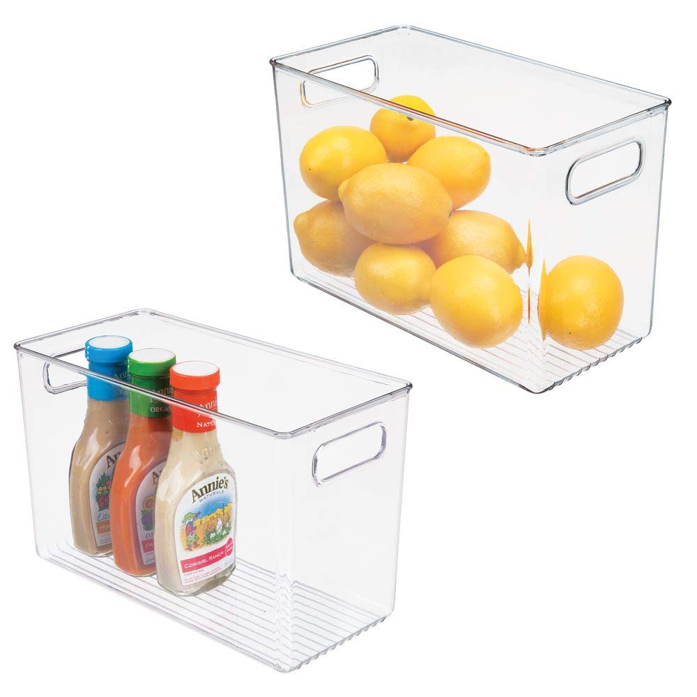 mDesign Plastic Food Storage Container Bin with Handles - for Kitchen, Pantry, Cabinet, Fridge/Freezer - Narrow for Snacks, Produce, Vegetables, Pasta - BPA Free, Food Safe - 2 Pack - Clear