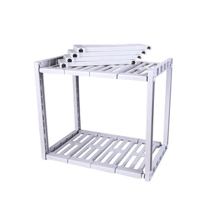 ZDZDZ Indoor Simple Multi-Functional Under Sink Organizer 2 Tier Expandable Shelf Organizer Rack- Bathroom Kitchen or Pantry Organization and Storage Adjustable Shelves (Light Grey)