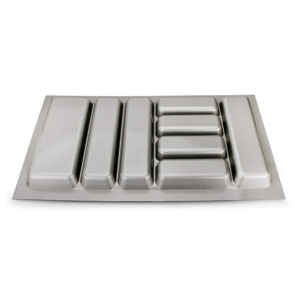 8 compartments Cutlery Tray Insert Utensil Drawer Divider Organiser 900mm Width Cabinet ABS Plastic Gray Adjustable