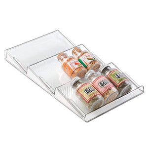 mDesign Plastic Spice Rack, Drawer Organizer for Kitchen Cabinet Drawers - 3 Slanted Tiers - for Garlic, Salt, Pepper Spice Jars, Seasonings, Vitamins, Supplements - Clear