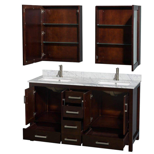 Online shopping wyndham collection sheffield 60 inch double bathroom vanity in espresso white carrera marble countertop undermount square sinks and medicine cabinets