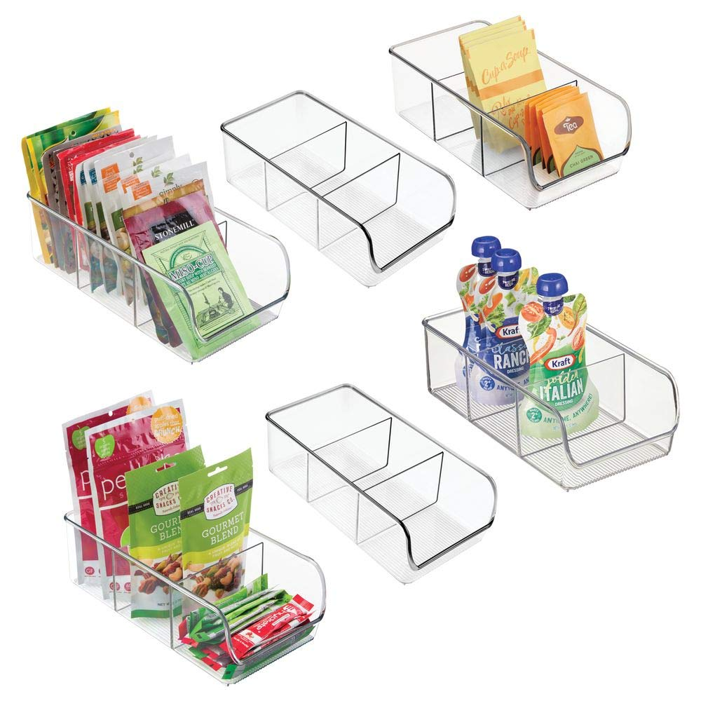 mDesign Plastic Food Packet Kitchen Storage Organizer Bin Caddy - Holds Spice Pouches, Dressing Mixes, Hot Chocolate, Tea, Sugar Packets in Pantry, Cabinets or Countertop - 6 Pack - Clear