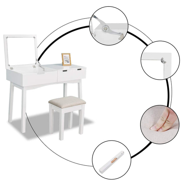 Shop here vanity set with dressing table flip top mirror organizer cushioned stool makeup wooden writing desk 2 drawers easy assembly beauty station bathroom white