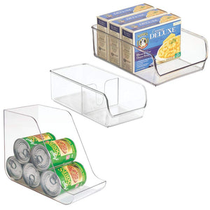 mDesign Canned Food/Soda Organizer, Spice Packet Bin, Storage Bin for Pantry, Refrigerator, Freezer - Set of 3, Clear