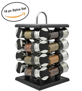 Deluxe Revolving 16pc Spice Jar Rack Storage, Pantry, Countertop Organizer