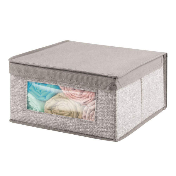 Shop here mdesign soft stackable fabric closet storage organizer holder bin with clear window attached hinged lid for bedroom hallway entryway bathroom textured print medium 6 pack linen tan
