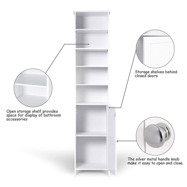 On amazon 72 tall cabinet waterjoy standing tall storage cabinet wooden white bathroom cupboard with door and 5 adjustable shelves elegant and space saving