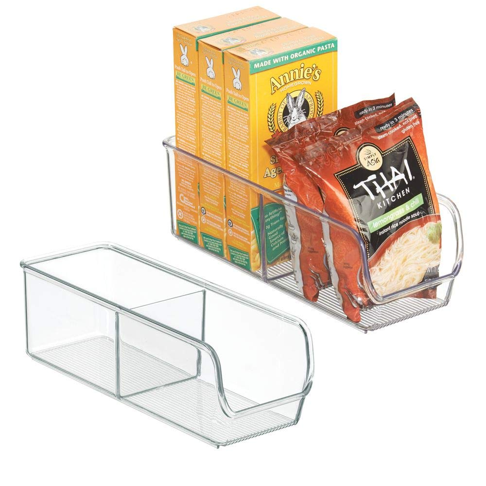 mDesign Kitchen, Pantry, Refrigerator, Freezer Storage Container- Pack of 2, Divided, Clear