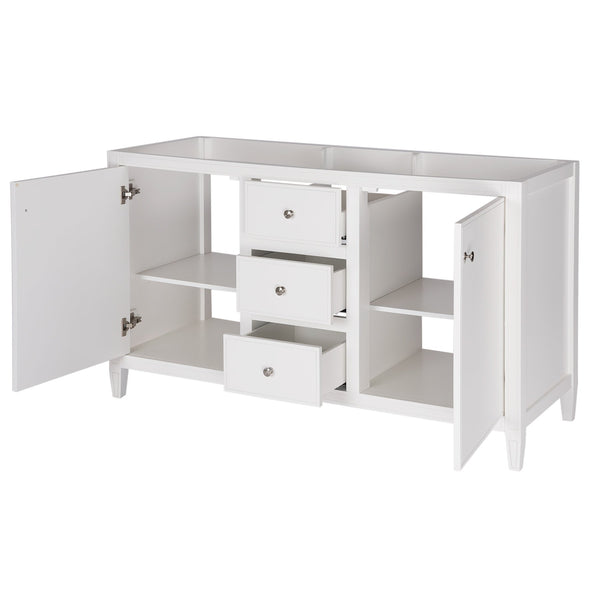 Discover the maykke cecelia 60 bathroom vanity cabinet 2 door 3 drawer solid birch wood frame white finish new england style double surface mounted vanity base cabinet only with tapered legs ysa1146001