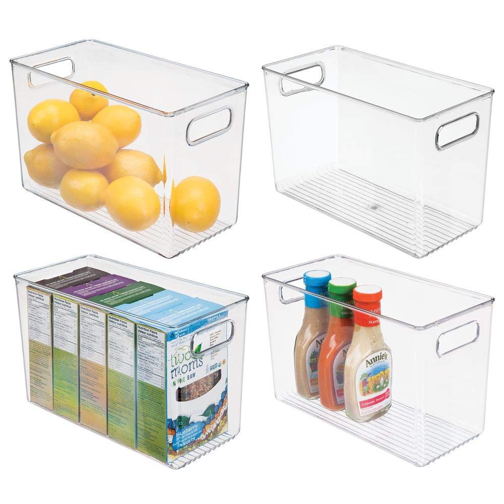 mDesign Plastic Food Storage Container Bin with Handles - for Kitchen, Pantry, Cabinet, Fridge/Freezer - Narrow for Snacks, Produce, Vegetables, Pasta - BPA Free, Food Safe - 4 Pack, Clear