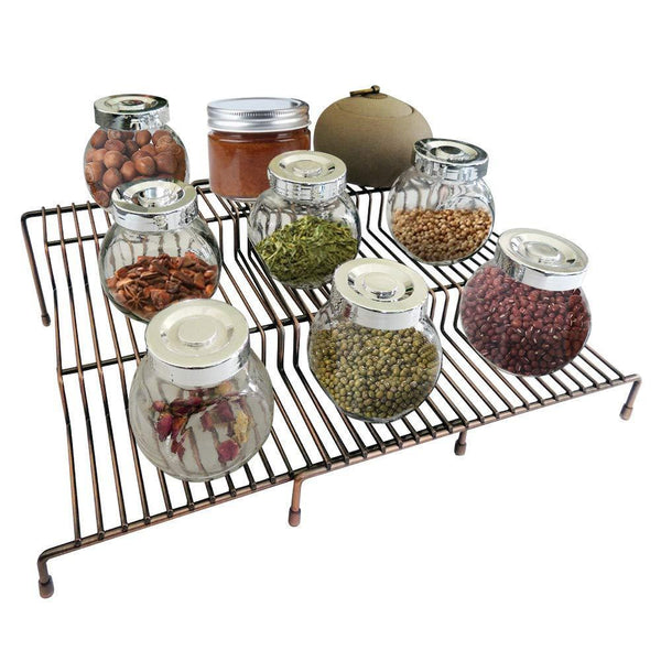 Exclusive 3 tier spice rack step shelf cabinet countertop kitchen organizer expandable stackable pantry bathroom multipurpose storage rack holder non skid 2 pack