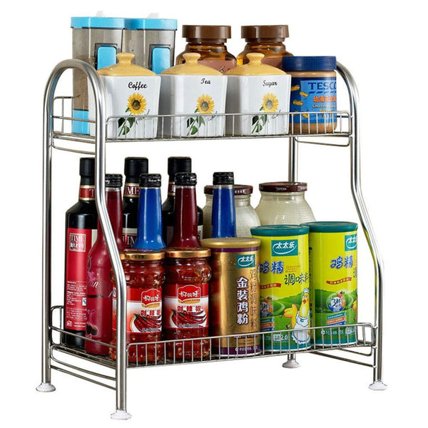 Junyuan Kitchen Spice Racks, 2-Tier Bathroom Shelf Kitchen Countertop Storage Organizer Jars Bottle Seasoning Rack Shelf Holder- Space Saving, High Capacity, Mesh Wire-Stainless Steel